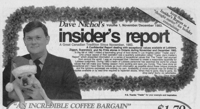 Page of insider's report with Dave Nichol holding a puppy wearing a Santa Clause hat