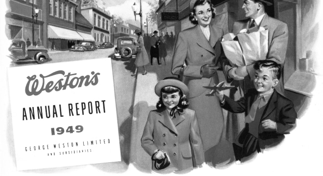 1949 Weston's annual report cover containing husband holding groceries alongside wife, son and daughter walking city streets