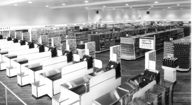 Checkout counters in 1956 Loblaws store