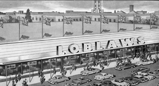 Drawing of 1953 Loblaws grocery store building with cars and people outside