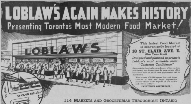 Loblaws store opening newspaper advertisement