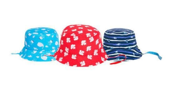 Three colourful children's bucket-style hats