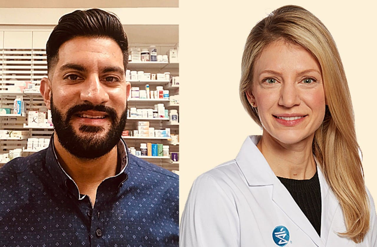 Two Shoppers Drug Mart pharmacists, a man and a woman, facing the camera