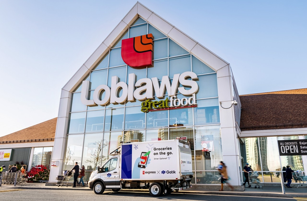 Autonomous truck in front of a Loblaws location