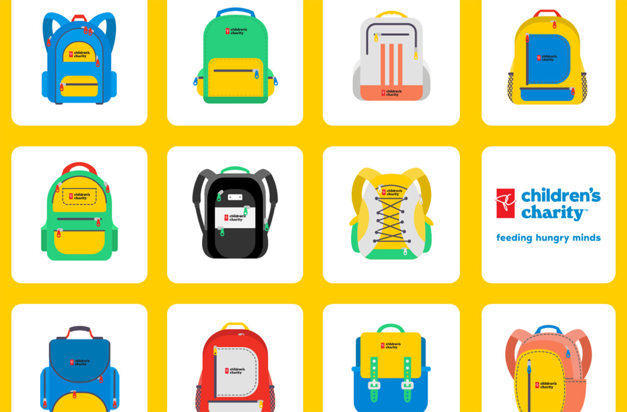 Gallery of animated backpacks adorned with PC Children's Charity logos