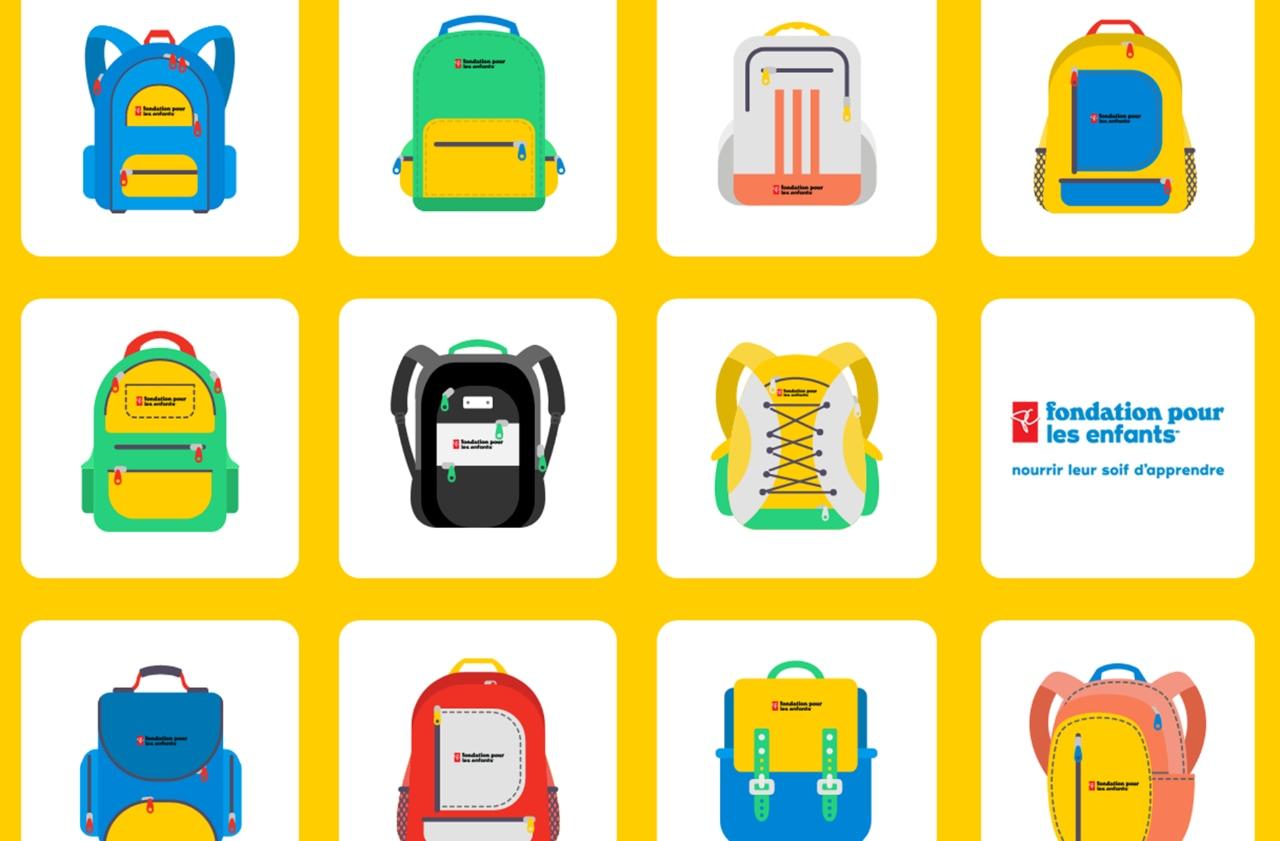Galerie de sacs à dos animés ornés des logos de la Fondation pour les enfants PC