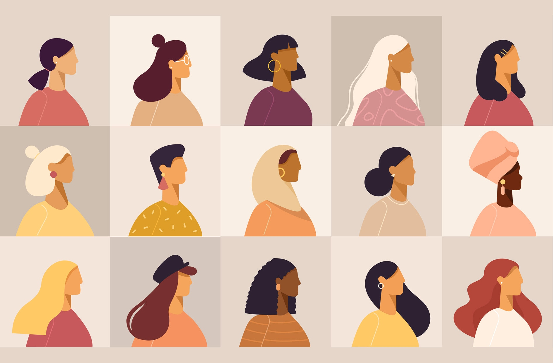 Illustration of various women in profile