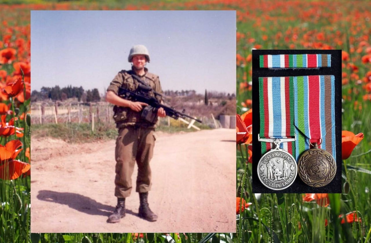Scott poses in uniform while on a peacekeeping mission and the two medals he earned on that tour
