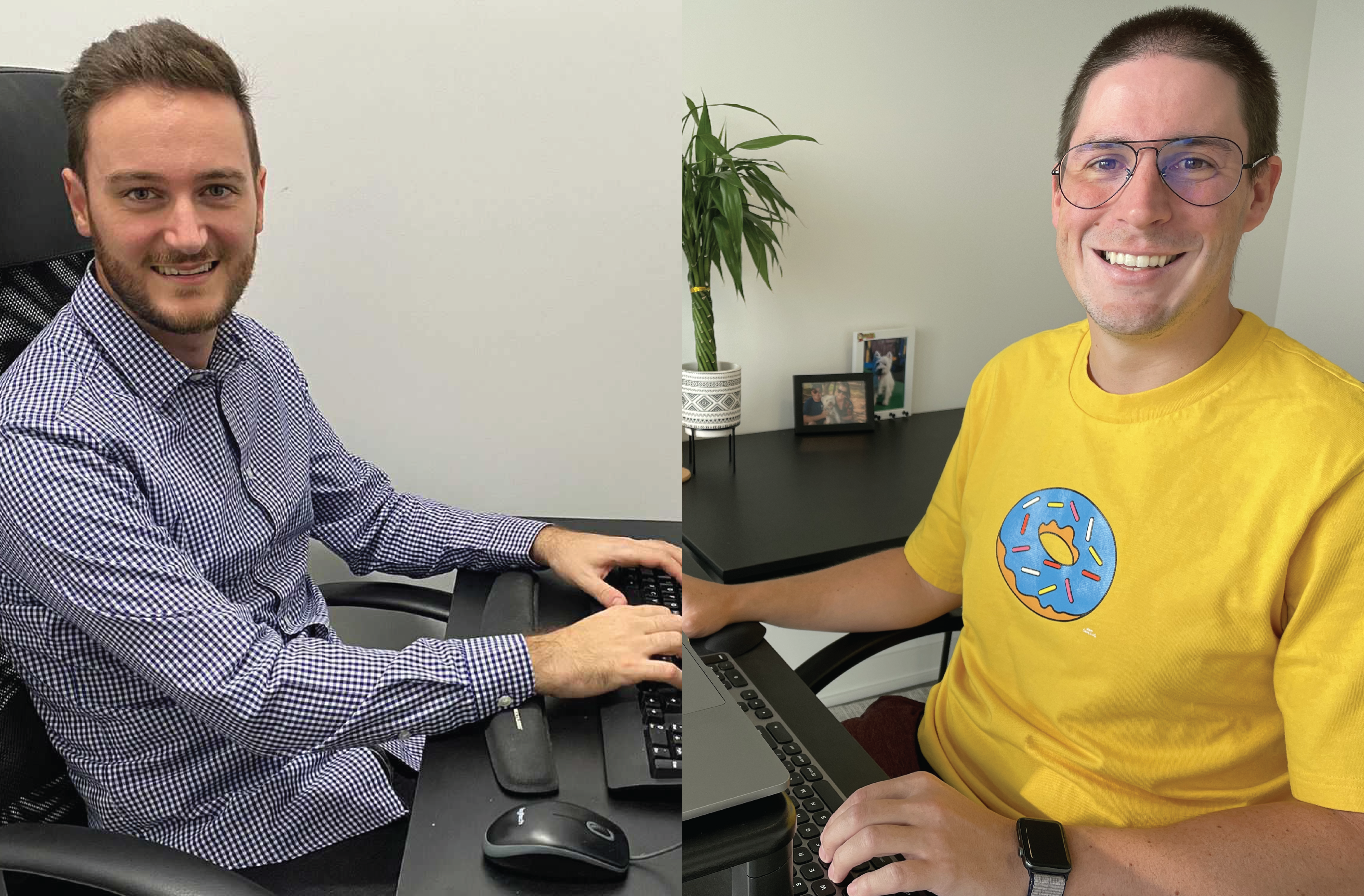 Luca and Tadeu sit at their workstations from home smiling