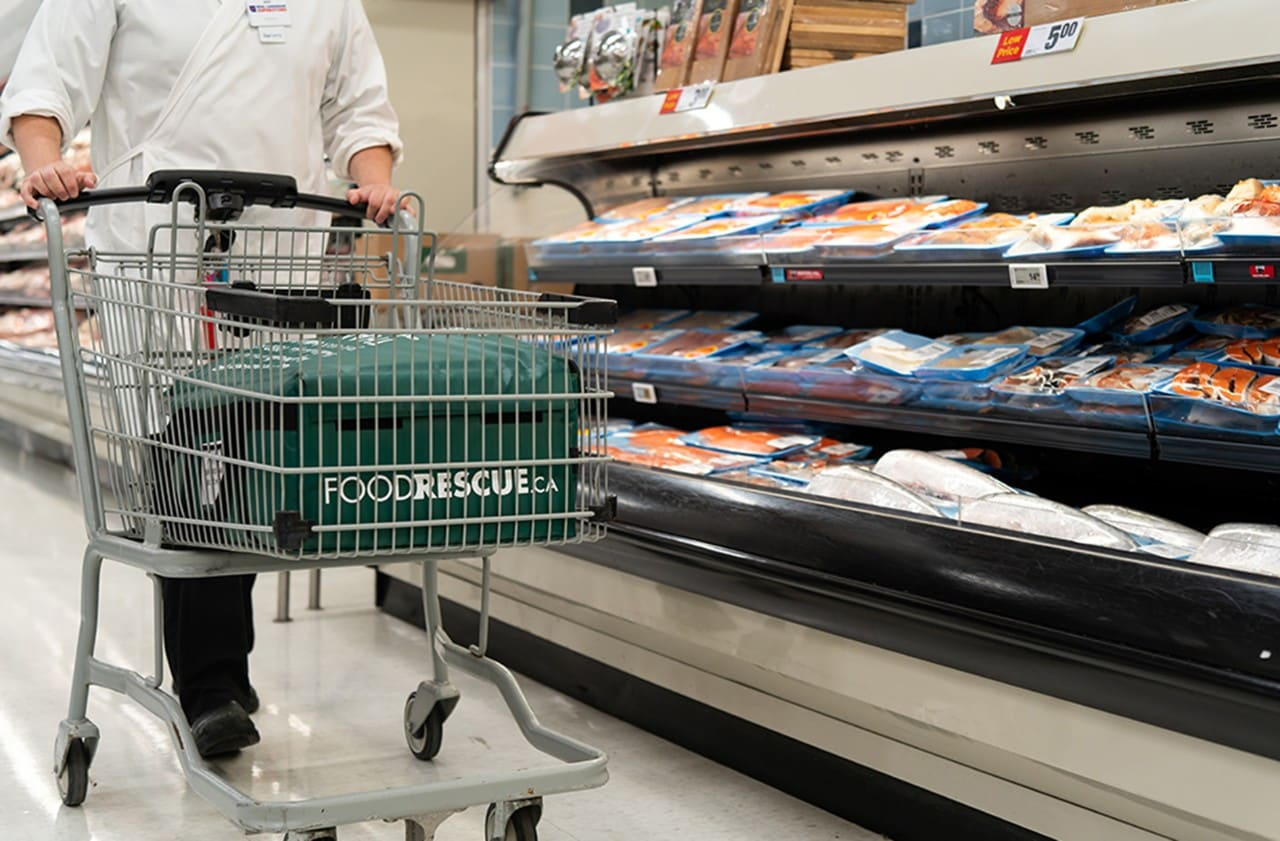 Close-up of a shopping cart in a grocery store aisle with a foodrescue.ca basket inside