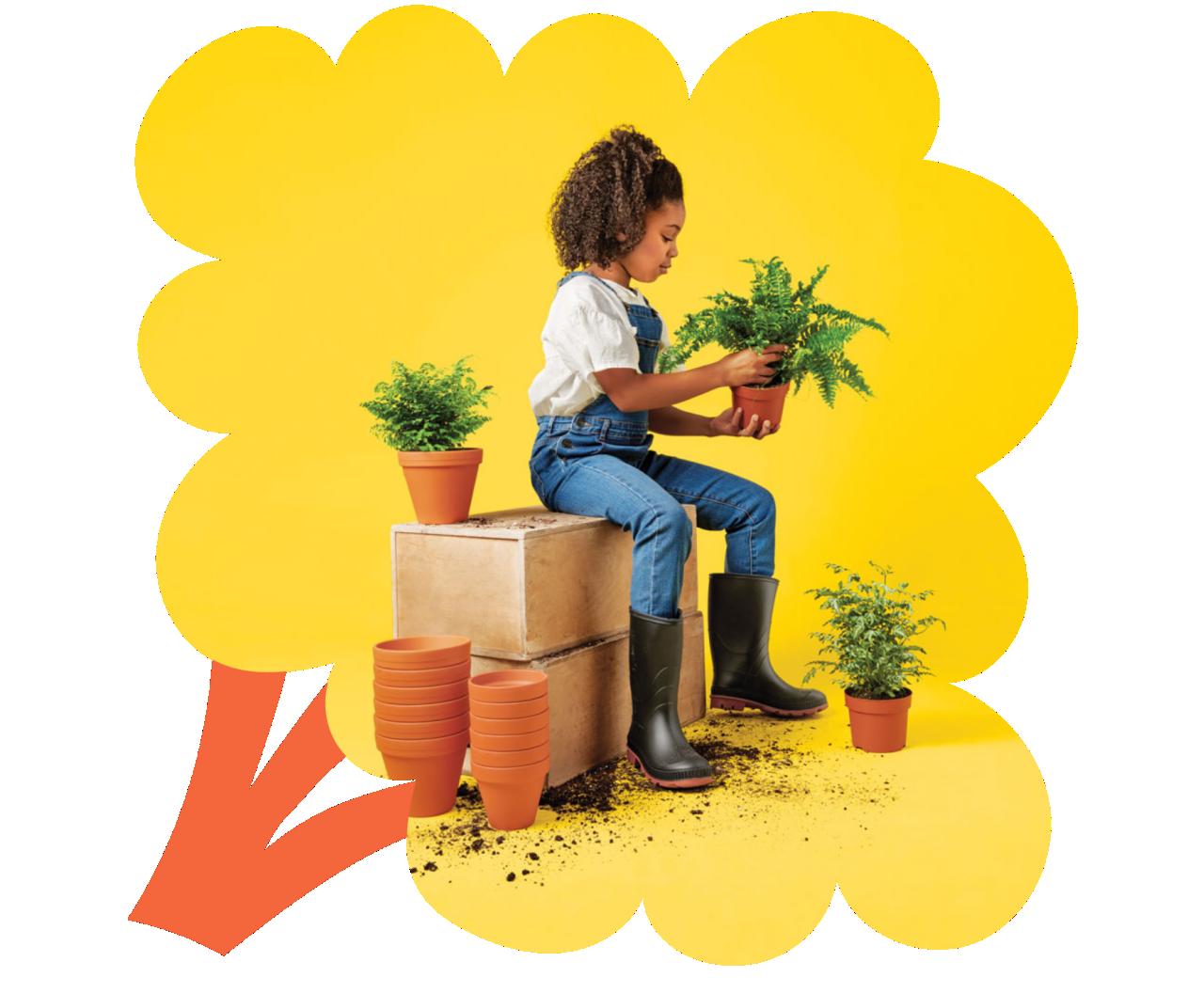 Fille assise sur un banc tenant une plante