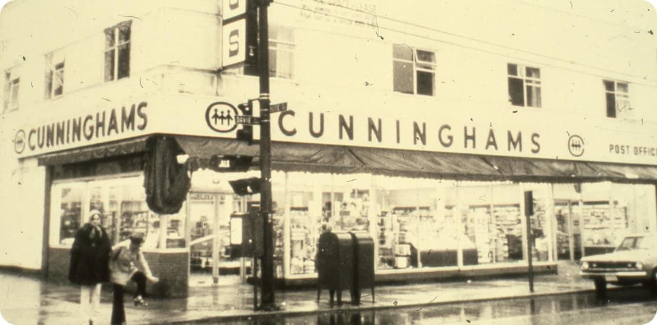 Vintage storefront Cunningham drug store